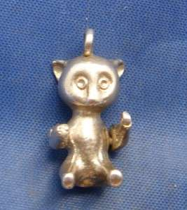 Vintage English Silver Articulated Teddy Bear (Cat??) Charm
