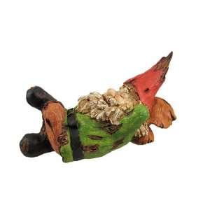 TIME Wooden  Sleeping Garden Gnome Statue Patio, Lawn & Garden