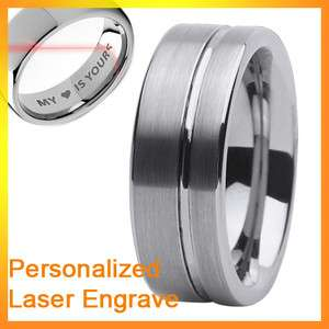 engrave 8mm mens groove brushed tungsten carbide ring
