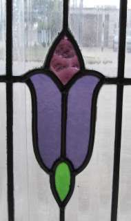 Pair of Antique Stained Glass Windows Purple Tulips