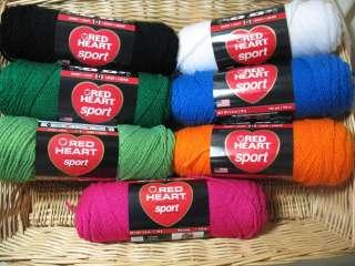 10 Skeins Red Heart Sport Weight Yarn 2.5oz skns U Choose Color Lot