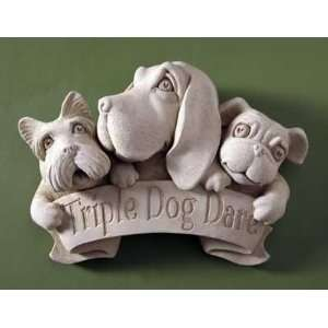 Hand Cast Stone   Triple Dog Dare   Collectible Puppy Dogs