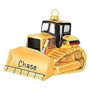 Personalized Bull Dozer Glass Ornament: Home & Kitchen