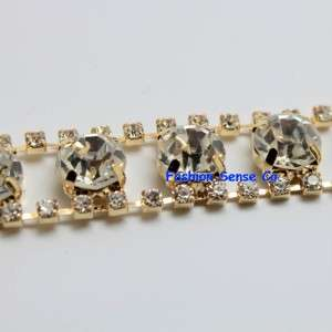 applique diamante rhinestone crystal GOLD chain trimming 1 yd