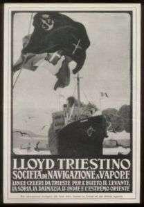 1923 Helouan cruise ship art Lloyd Triestino print ad