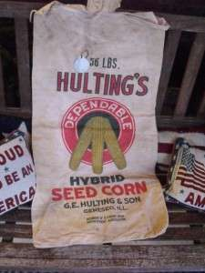 Vintage Hultings Hybrid Seed Corn Feed Sack Fence Tag & Label Geneseo