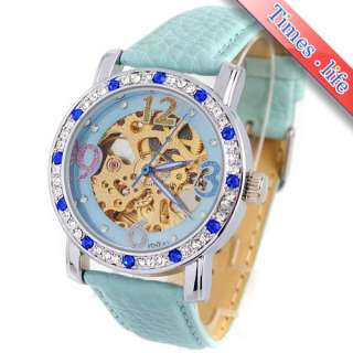 Sky Blue Design Women Lady Automatic Watch Diamonds Gold Skeleton