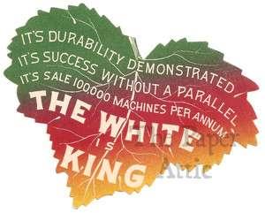 Vintage Victorian Trade Card Die Cut Multi Colored Leaf White Sewing