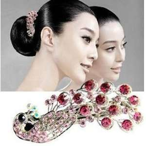 Rhinestone Peacock Hair Clip   Pink Beauty