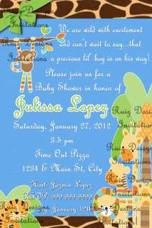Animal Jungle Baby Shower Invites (Girl, Boy or Unisex)