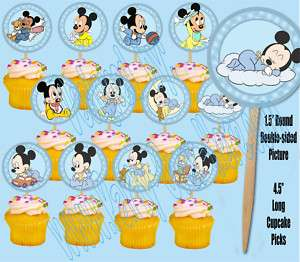 Baby Mickey Mouse 1.5 Cupcake Picks Cake Topper  12 pc