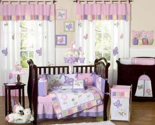 PINK PURPLE BUTTERFLY GIRL CRIB BABY INFANT BEDDING SET