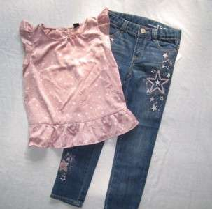 4T Modern Dance Star Embroidered Skinny Jeans Silky Ruffle Top