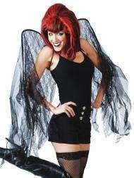 LARGE BLACK LACE WINGS BAD FAIRY DARK ANGEL COSTUME NEW