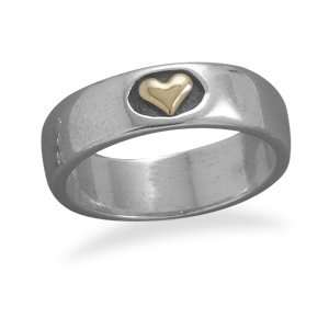 Silver And 14 Karat Gold Heart Ring   Size 6 CleverSilver Jewelry