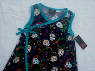 Punk Fiesta Sugar skull Day of the Dead toddler baby girl dress kimono