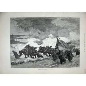 1889 Burton Fine Art Horses Launching Life Boat Sea Home & Kitchen