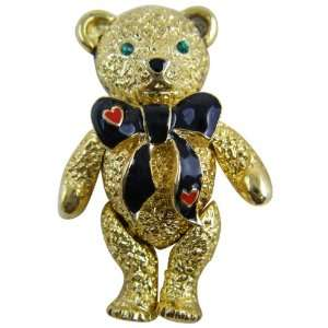 Bear Pin   Classic Gold Plated Bowtie Teddy Bear Pin   Necklace Toys