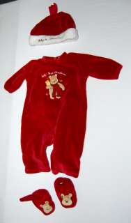 CLASSIC POOH INFANT CHRISTMAS OUTFIT ROMPER BABY BOY GIRL NEWBORN 0 3
