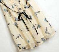 2012 Women Fashion Peter Pan Collar Cute Bird Prints Chiffon Dress XS