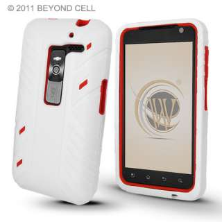 LG Esteem 4G MS910 White/Red Double Dual Layer Hybrid Hard Case