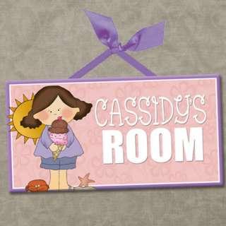 PERSONALIZED Kids Room Door Sign BEACH GIRLS   ICE CREAM Cute Wall