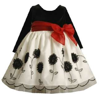 New Bonnie Jean Girls Organza Flower Christmas Dress 2T