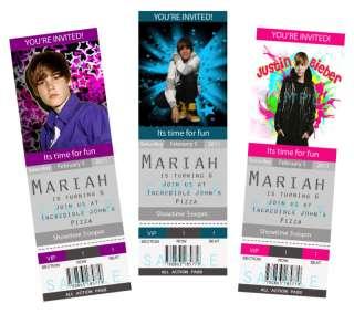 Justin Bieber Birthday Party Invitation   6 designs