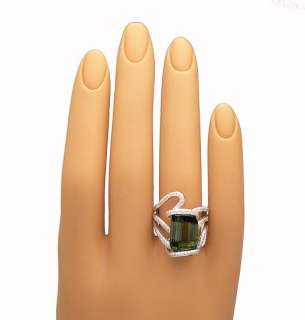 GORGEOUS 18k, GREEN TOURMALINE & DIAMONDS RIBBON RING