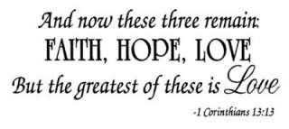 FAITH HOPE LOVE Wall Quote Decal Corinthians Religion Lettering Home