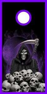 Purpl Flame Grim Reaper Skulls Cornhole game decal wrap