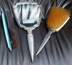 Antique Sterling Mirror, Brush & Comb Enameled Set