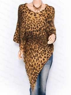 Free Ship New Womens Leopard Prints V Neck Angled Hem Fringes Poncho