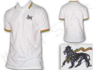 Rasta Reggae POLO Tee shirt Lion Of Judah Embroided White UK
