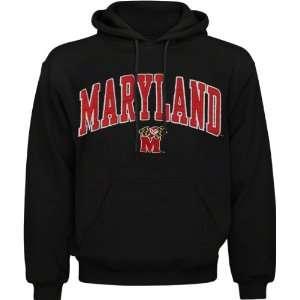 Maryland Terrapins Black Acid Washed Mascot Hooded
