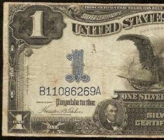 LARGE 1899 $1 DOLLAR BILL SILVER CERTIFICATE EAGLE NOTE Fr 233 OLD