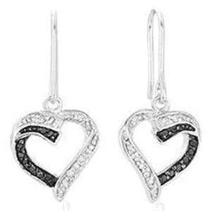 Genuine Black & White Diamond Heart Earrings in Solid Sterling Silver