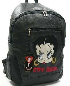 BLACK LARGE BETTY BOOP LEATHER BACKPACK HANDBAG BAG