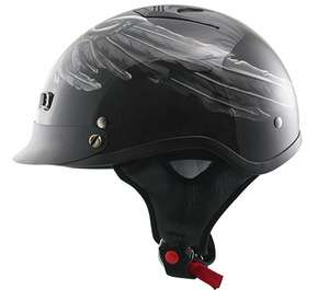Motorcycle Biker Black Skull/Wings Vented Half Helmet Made By Outlaw