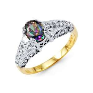14k Yellow White Gold Oval Mystic Fire Topaz CZ Ring Jewelry