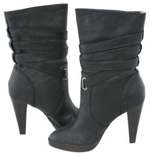 Frye Harlow Multi Strap Leather Heels Pull On Black Boots 8 New
