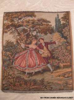 TAPESTRY ITALY MEDIEVAL DANCERS UPHOLSTERY WALL HANGING PAPER LABELNEW