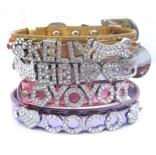 Metallic Dog Cat Pet NAME ME Personalized Rhinestone Collar XS S M L