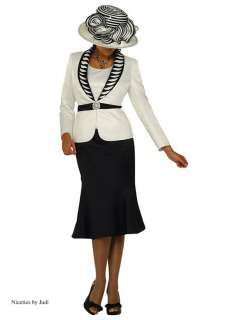 Tango 4729 Womens Black Ivory Church Dress Skirt Jacket 3 pc Suit