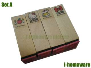 Hello Kitty Pictures Sanrio Party Supply Gift Wooden Stamps 4x