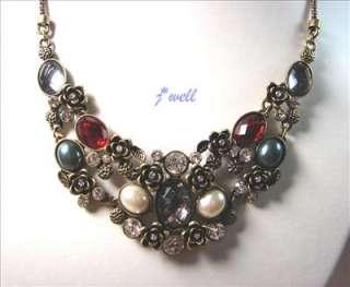 Premier Jewelry Crystal Bloom w/Pearls Vintage Necklace
