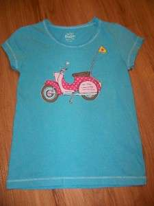 Mini Boden Turquoise Blue Vintage Scooter Beach Tee Size 3 4
