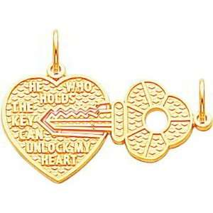 10K Yellow Gold Key To My Heart Breakable Charm Jewelry