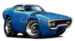 1971   1972 Plymouth Road Runner GTX Muscle Car Cartoon Tshirt #9494