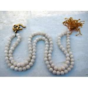 White Agate Meditation Mala 108 Prayer Beads on String with Om Pendant